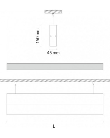 Luminaria de Suspension Lineal Led Luz Directa e Indirecta 45mm de Tromilux