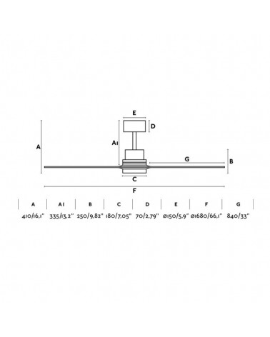 Ventilador Decorativo Lantau G con luz de Faro