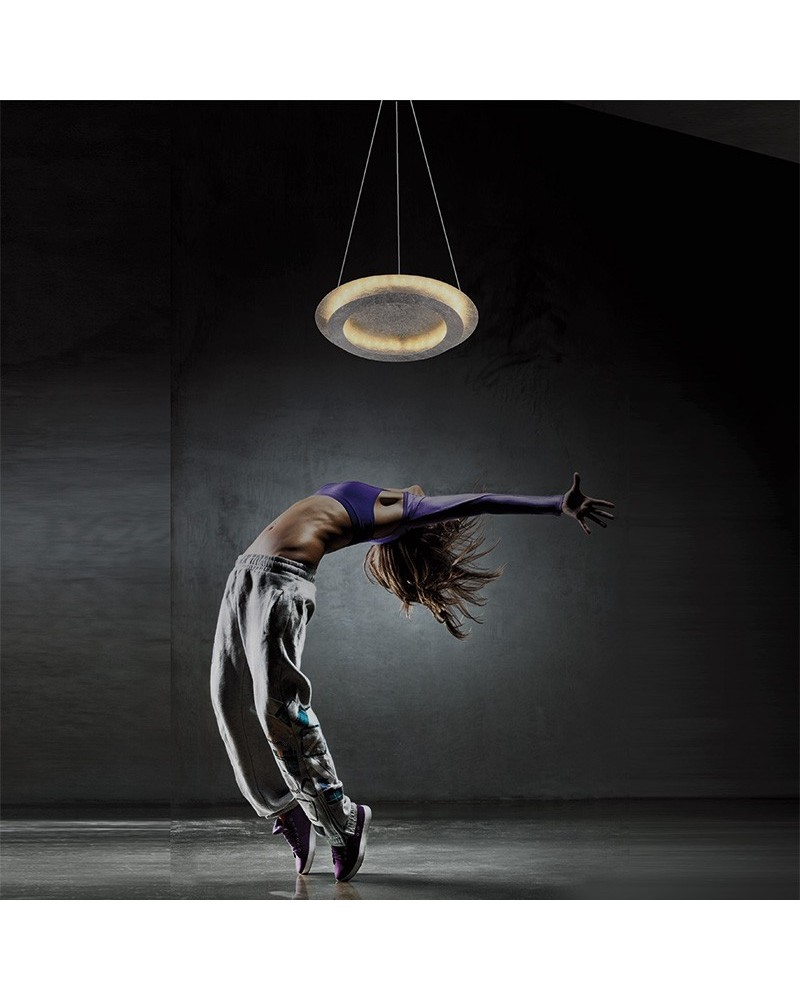 Plafón o Colgante Rodium 24W Pan de Plata de Mimax Lighting