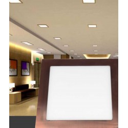 Downlight Empotrable Led Cuadrado 18W marco cobre