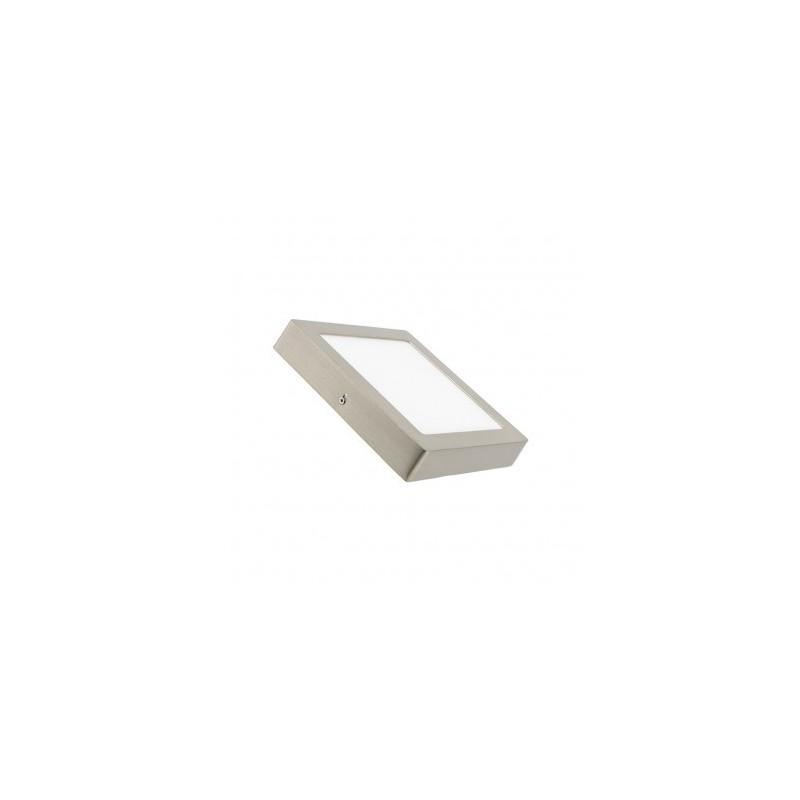 Plafon Superficie Led 18W cuadrado marco niquel satinado