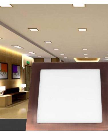 Downlight Empotrable Led Cuadrado 6W marco cobre