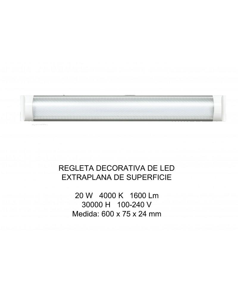 REGLETA DECORATIVA LED SUPERFICIE EXTRAPLANA 60CM 20W 4000K OPAL  DE ELECTROBILSA