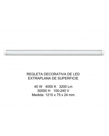 REGLETA DECORATIVA LED SUPERFICIE EXTRAPLANA 120CM 40W 4000K OPAL DE ELECTROBILSA